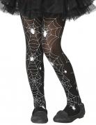 Spinnenweben-Strumpfhose für Kinder Halloween-Accessoire schwarz-weiss