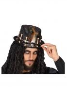 Voodoo-Hut mit Knochen und Feder schwarz