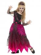 Zombie-Ballkönigin-Kostüm für Mädchen Halloween-Kostüm pink-schwarz