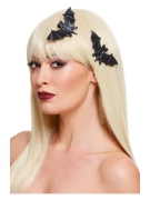 Fledermaus-Haarclip Halloween-Accessoire 2 Stück schwarz