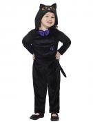 Niedliche Schwarze Katze Kinder-Kostüm für Mädchen schwarz-violett-gelb