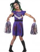 Zombie-Cheerleader-Kostüm für Mädchen Halloween-Kostüm lila-schwarz