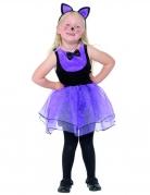 Katzen-Kostüm für Kleinkinder Halloween-Kostüm schwarz-violett