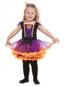 Kürbis-Hexenkostüm für Mädchen Halloween-Kostüm  lila-schwarz-orange