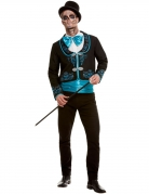 Schickes Tag der Toten Kostüm für Herren Halloweenkostüm schwarz-blau