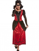 Vampir-Kostüm für Damen mit Maske Halloween-Kostüm schwarz-rot