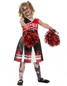 Zombie-Cheerleader-Kostüm für Mädchen Halloween-Kostüm rot-schwarz