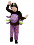 Plüschiges Spinnen-Kostüm für Kinder Halloween-Kostüm schwarz-lila