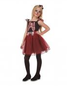 Fräulein Skelett Tag der Toten-Mädchenkostüm Halloweenkostüm schwarz-rot