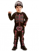 Sugar Skull-Kostüm für Kleinkinder Halloween-Kostüm schwarz-bunt