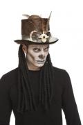 Voodoo-Hut Halloween-Accessoire braun-weiss 59 cm