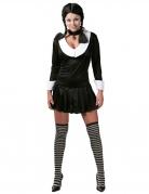 Dunkles Schülerin-Kostüm Schulmädchen-Uniform für Damen schwarz-weiss