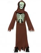 Skelett-Mönch-Kostüm mit zerrissener Robe Halloweenkostüm für Kinder braun