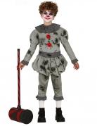 Killerclown-Kostüm für Jungen Hallloweenkostüm für Kinder grau