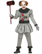Mörder-Clown-Kostüm für Halloween grau
