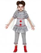 Killer-Clownkostüm für Mädchen Halloweenkostüm grau-rot