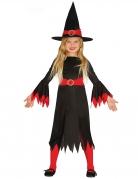 Hexen-Mädchenkostüm Halloween-Kostüm schwarz-rot