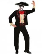 Tag der Toten Kostüm für Herren Mariachi-Kostüm schwarz-bunt