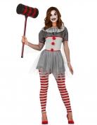 Psychoclown-Damenkostüm Halloweenkostüm grau-rot
