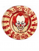 Halloween-Clown-Teller Horrorclown-Deko 8 Stück rot-beige 23cm