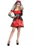 Tag der Toten-Kostüm für Damen Halloween-Kostüm rot-schwarz