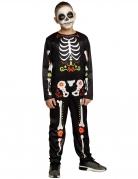 Día de los Muertos-Kostüm für Jungen Halloween-Kostüm schwarz-bunt