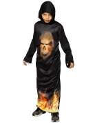 Kultisten-Kostüm für Kinder Teufelsanbeter-Kostüm mit Totenkopf-Aufdruck schwarz