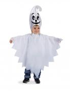 Geister-Kostüm für Kinder Umhang und Mütze Halloween-Kostüm weiss-schwarz