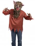 Werwolf-Kostüm für Herren mit Maske Halloweenkostüm rot-braun