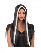 Hexen-Perücke für Damen Langhaar-Perücke Halloween-Accessoire schwarz-weiss