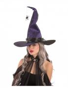 Hexen-Hut mit Spinne Halloween-Accessoire lila-schwarz