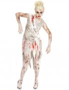 Zombie-Modelkostüm für Damen Miss World Halloween-Kostüm silber-rot