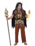 Gruseliges Voodoo-Kostüm fü Herren Totenschädel-Motiv braun-schwarz