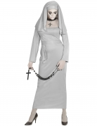 Geister-Nonne Damenkostüm Halloweenkostüm grau