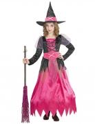 Kleine Hexe Mädchenkostüm Halloweenkostüm pink-schwarz