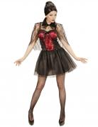 Vampir-Verkleidung für Damen Halloweenkostüm schwarz-rot