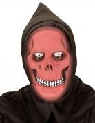 Nachtleuchtende Skelett-Vollmaske für Erwachsene rot-weiß-schwarz