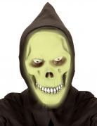 Totenkopf-Maske mit Kapuze phosphoreszierend grün