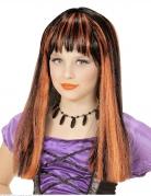 Hexen-Perücke für Mädchen Halloween-Perücke schwarz-orange