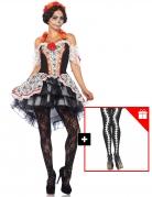 Schickes Día de los Muertos-Kostüm für Damen Halloween-Kostüm bunt