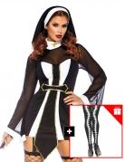 Sexy Nonnenkostüm für Damen mit Strumpfhose schwarz-weiss