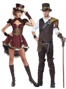 Steampunk-Paarkostüm für Erwachsene Halloween-Kostüm rot-braun