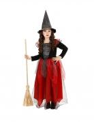 Kinder-Hexenkostüm Kinder-Halloween-Kostüm schwarz-rot