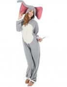 Elefanten-Kostüm für Damen Faschingskostüm grau-weiss-rosa