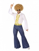 70er Jahre Disco-Kostüm für Herren Karnevalskostüm weiss-blau