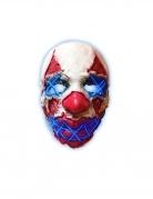 Killerclown-LED-Maske Leuchtmaske Halloween rot-weiss-blau