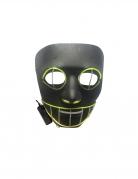 LED-Maske Halloween-Leuchtmaske grinsende Katze schwarz-grün