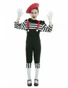 Pantomime-Kostüm für Mädchen Faschingskostüm schwarz-weiss-rot