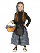 Kastanien-Verkäuferin-Kostüm für Kinder Marktfrau-Kostüm schwarz-weiss
