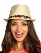 Hut mit Pompons Accessoire beige-bunt
